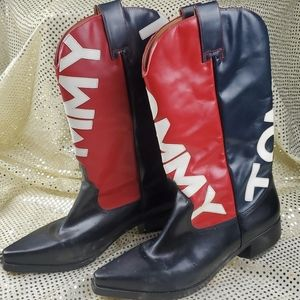 HPx2🎉Tommy Hilfiger logo womens leather boot